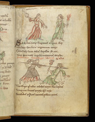 Coloured Drawings Of Chastity Fighting Lust, In Prudentius's 'Conflict Of The Soul'